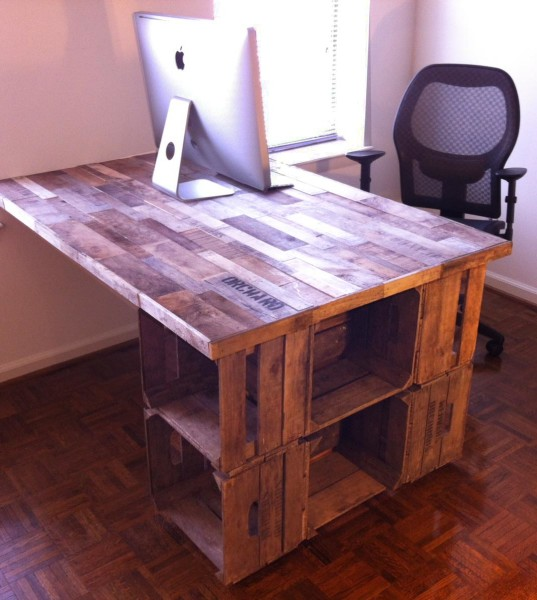 Reduce reuse repurpose a recycled apple crate desk for Apple crate furniture