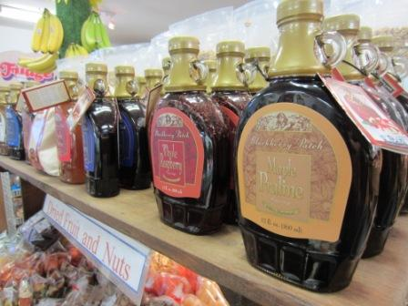 Choose from a variety of syrups in our farm market to complement your cider pancakes! (My favorite one is the maple praline.)