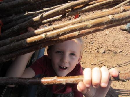 """Our four-year-old just couldn't wait to get started """"helping"""" dad plant those trees!"""