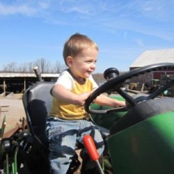If it were up to him-- he'd sit on that tractor all day long!