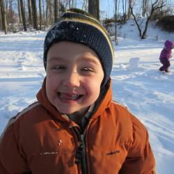 It's fun to be five! Frozen eyelashes from sledding fun!