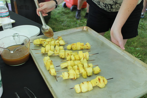 Glazing grilled pineapple