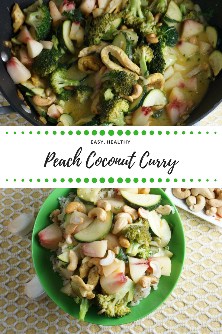 Peach Coconut Curry is deliciously healthy and flavorful - chock full of in-season #veggies