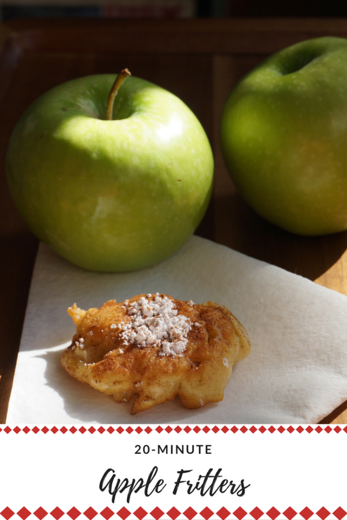 Easy and delicious apple fritters - ready in 20 minutes! #apples #desserts #applerecipe #applefritters #friedfood