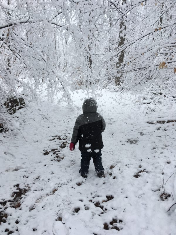Exploring the snow at Weaver's Orchard
