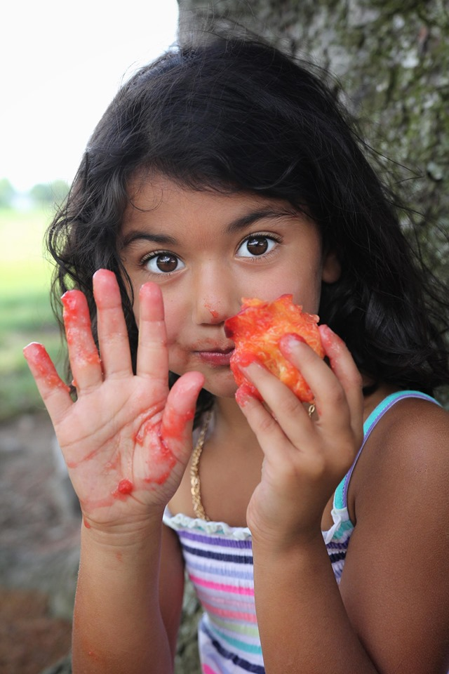 Ali Chandra's daughter enjoying pick-your-own fruit