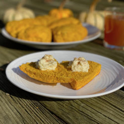 Pumpkin scones with a glass of cider