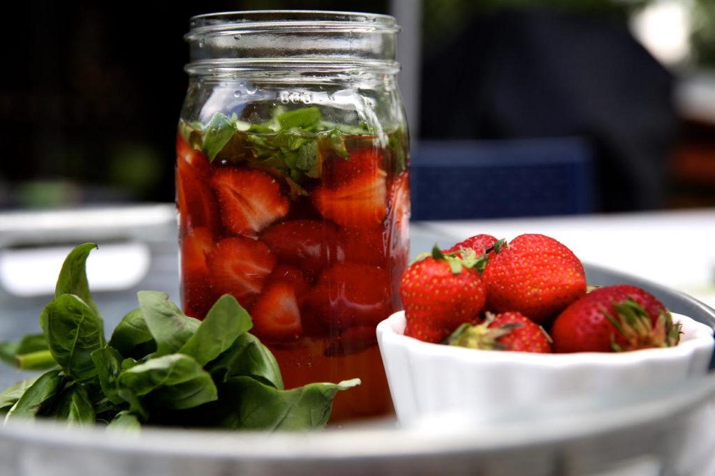 Strawberry-Basil Shrub